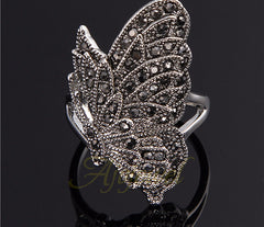 Elegant Black Cubic Zirconia Butterfly Ring