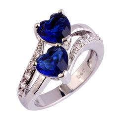 18K White Gold Plated Ring With AAA Cubic Zirconia Blue Sapphire Quartz