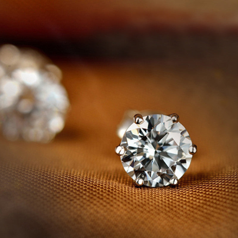 Rhinestone Crystal Solitaire Stud Earrings - Silver Plated