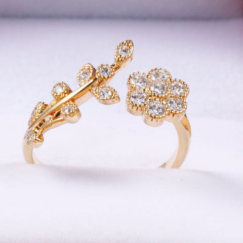 14k Gold Plated Flower Adjustable Ring