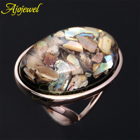 Big Oval Shaped Sea Shell Rose Gold Plated Rings