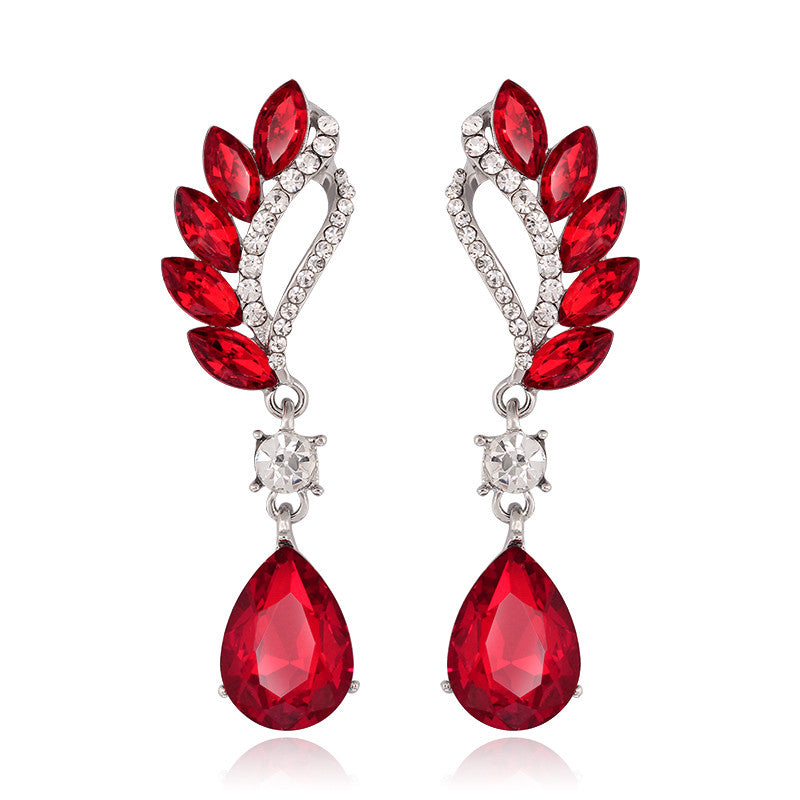 Long Big Crystal Drop Earrings