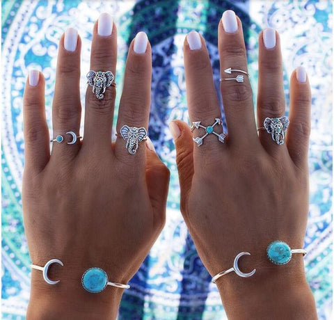 6 pcs Bohemian Antique Silver Blue Stone Elephant Ring Set
