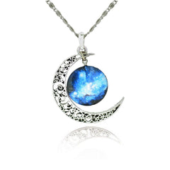 Silver Moon Necklace With Glass Galaxy Pendant