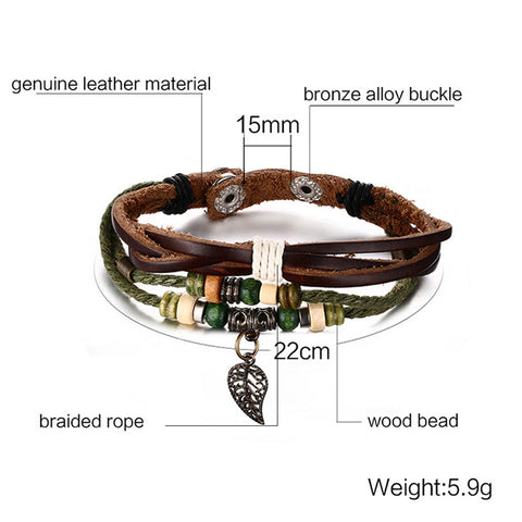 Genuine Leather Bracelet With Anchor Charm - 8 Style Options