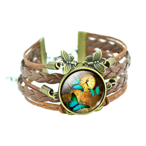 Classic Glass Dome Butterfly Leather Bracelet