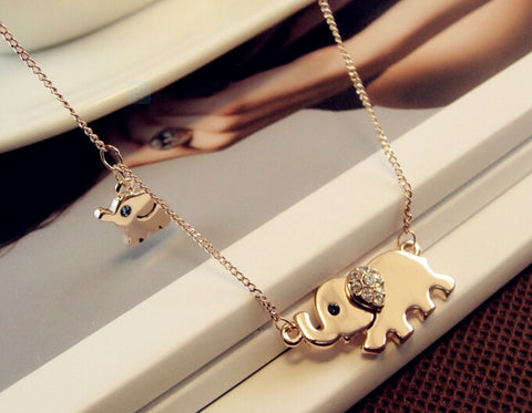 Cute Elephant Family Stroll Crystal Chain Necklace