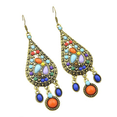 Vintage Bohemian Colorful Gemstone Drop Earrings