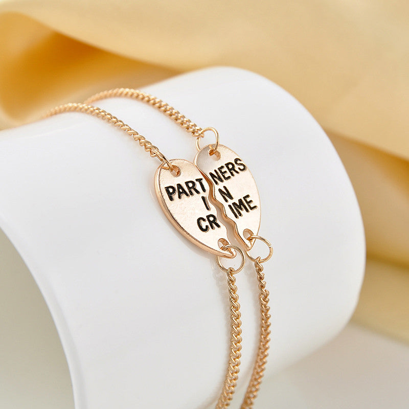 European Style 'Partners In Crime' Hearts Friendship Bracelet