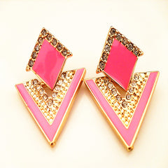 Double Layer Crystal Rhinestone Stud Earrings - 6 Color Options