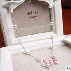 Imitation Pearl Necklace With Silver Chain