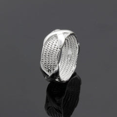 Silver Plated Cross Shape Ring