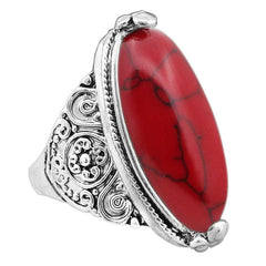 Tibetan Style Oval Stone Silver Plated Ring - 5 Color Options