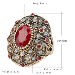 Gold Plated Mosaic Cubic Zirconia Crystal Ruby Ring - 3 Stone Colors & 4 Sizes