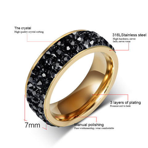 18K Gold Plated Stainless Steel Ring With Colored Crystal