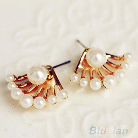Front & Back Pearl Stud Earrings - Gold Plated