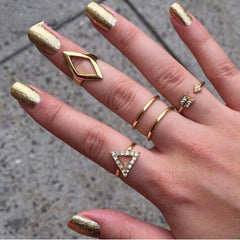 5pc Ring Set In Silver or 18K Gold Finish - Triangle, Rhombus, Arrow, Circle