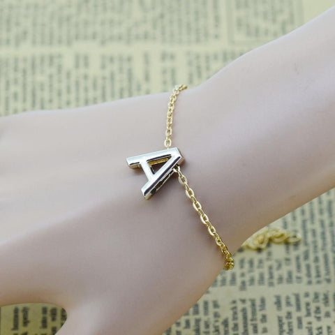 Personalized Initial Gold Plated Letter Bracelet