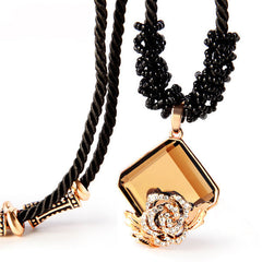 High Quality Crystal Necklace With Rope Chain And Pendant