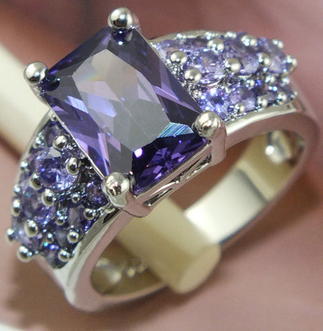925 Sterling Silver Purple Cubic Zirconia Ring