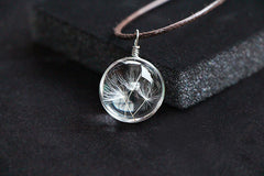 Crystal Glass Ball Dandelion Pendant With Long Strip Leather Chain
