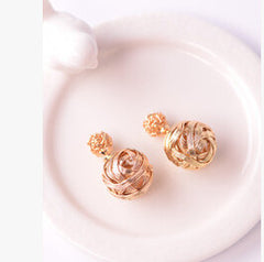 Hollow-Out Wool Ball Stud Earrings