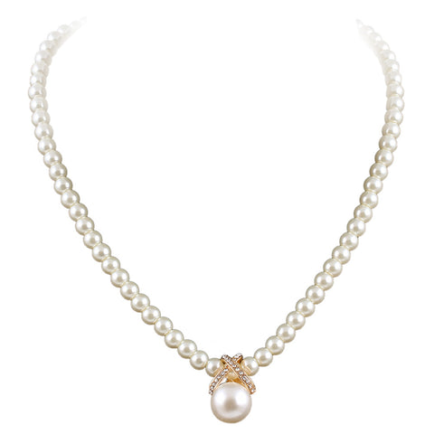 Full Imitation Pearls Necklace with Rhinestone Pendant