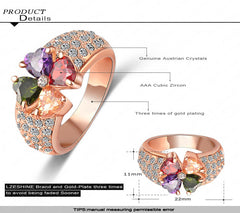 Heart Clover Cubic Zirconia 18K Rose Gold Plated Ring