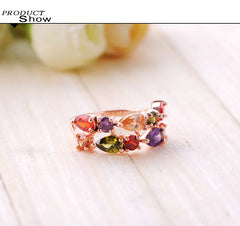 8K Rose Gold Plated Ring With Colorful Austrian Zirconia