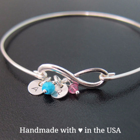 Personalized Mother's Infinity Bracelet with 2+ Birthstones and 2+ Initials