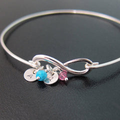 Personalized New Mom Infinity Bracelet with 1 Birthstone and 1 Charm (First Child)