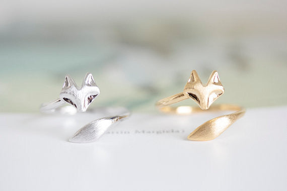 18K Gold, Silver or Rose Gold Plated Fire Fox Ring