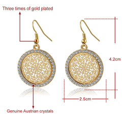 Silver or Gold Geometric Shaped Flower Drop Earrings - 8 Style Options