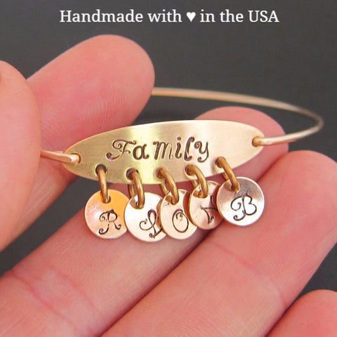 Personalized Family Initials Bracelet - 3 to 6 Charms with Initials