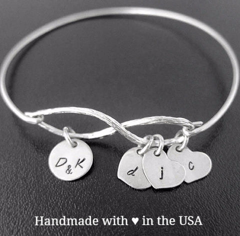 Personalized Family Tree Bracelet - Sentimental Infinity Symbol with 4 Charms