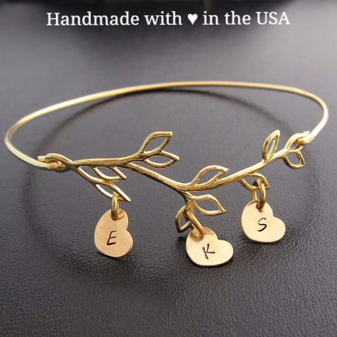 Personalized Family Tree Bracelet - Olive Branch with Initial Charms
