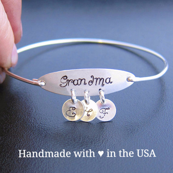 Personalized 'Grandma' Bracelet with 3+ Initial Charms