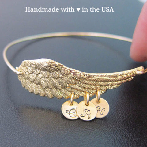 Personalized Grandma's Little Angels Bracelet - Angel's Wings with 3+ Charms