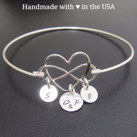 Personalized Infinity Heart Bracelet with 3+ Initial Charms