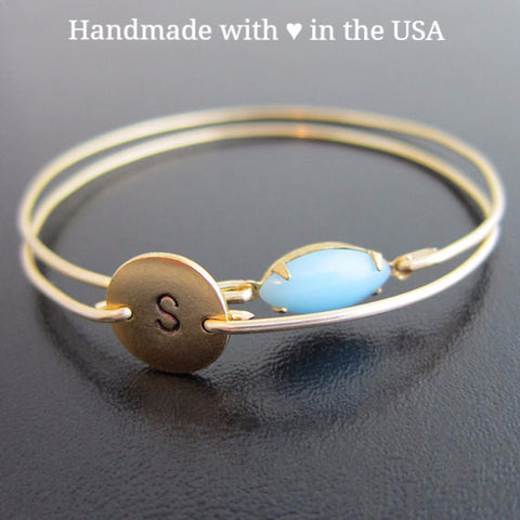 Personalized New Mom's Baby BOY Double Bracelet - 1 Charm & Blue Vintage Stone