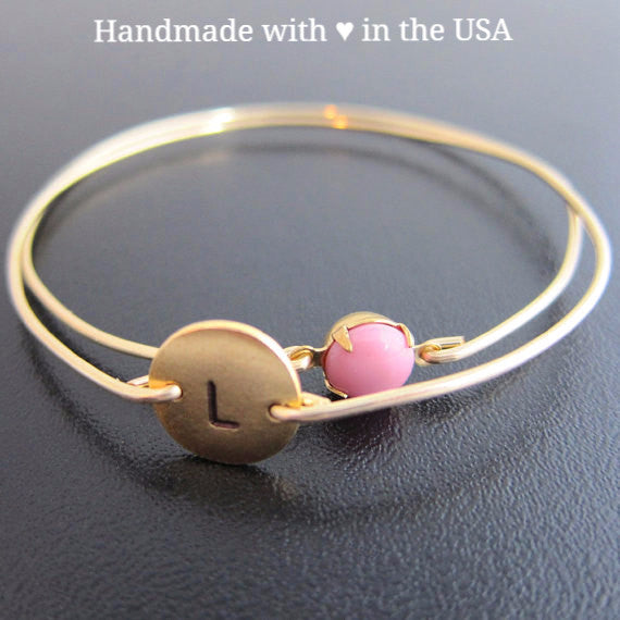 Personalized Mom's Baby GIRL Double Bracelet - 1 Charm & Pink Vintage Stone