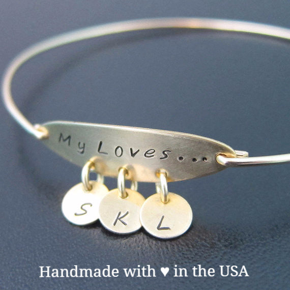 Personalized 'My Loves' Bracelet with 3+ Initial Charms (Mother / Grandmother)