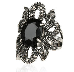 Silver Classic Black Agate Stones Ring