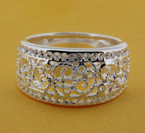 925 Silver Plated Wide Ring
