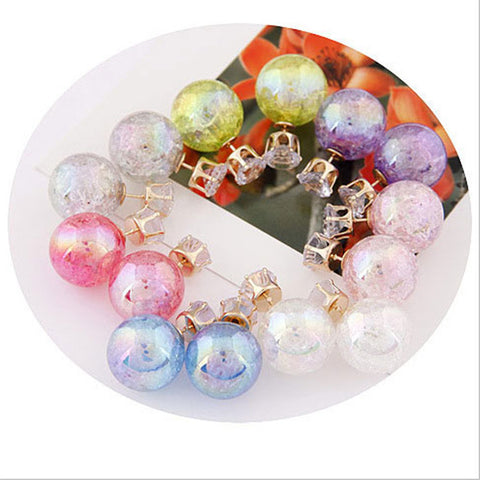 Colorful Pearl Double-Ball Stud Earring