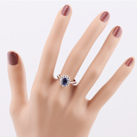 18K White Gold Plated Ring With Blue Gem Sapphire