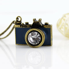 Antique Gold Long Chain Enamel Camera Pendant Necklace - 5 Color Options