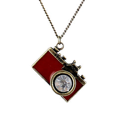 Antique Gold Long Chain Enamel Camera Pendant Necklace