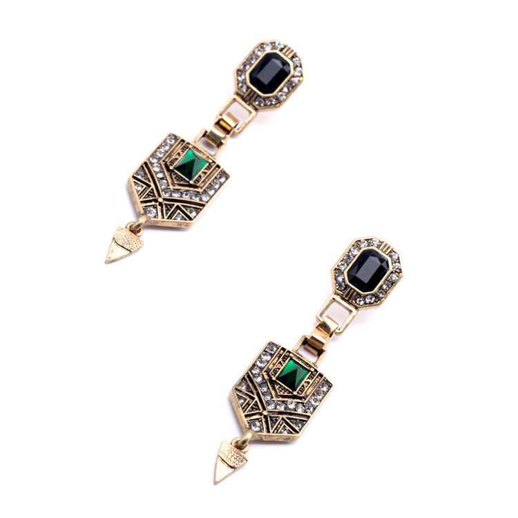 Green Crystal Cone-Shaped Pendant Earrings