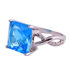 Vintage Geometric Blue Topaz 925 Sterling Silver Ring